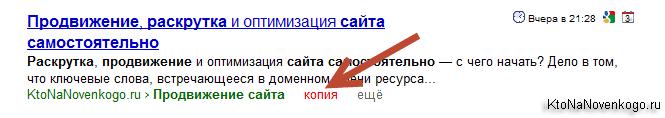 Как посмотреть копию документа в выдаче Яндекса