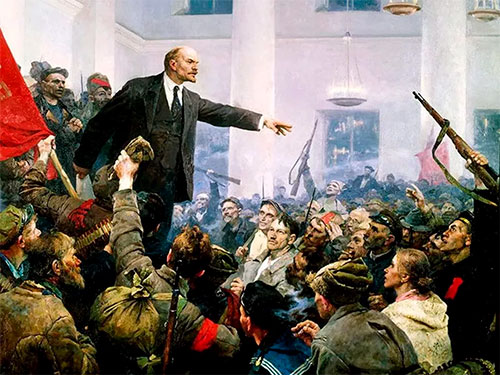 Ленин выступает на съезде большивиков