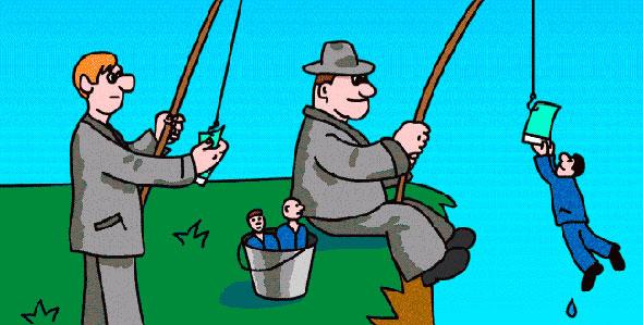 Ироничное представление работы рекрутинговых агентств в виде рыбалки с людьми на крючках