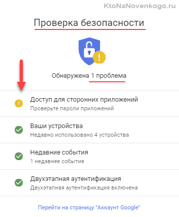 Мастер настройки безопасности Гугл аккаунта