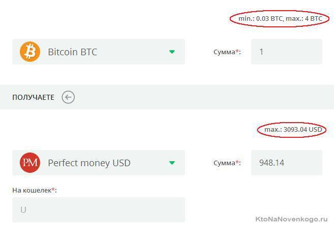 максимальный и минимальный перевод при обмен bitkoin на Perfect Money в Makoli