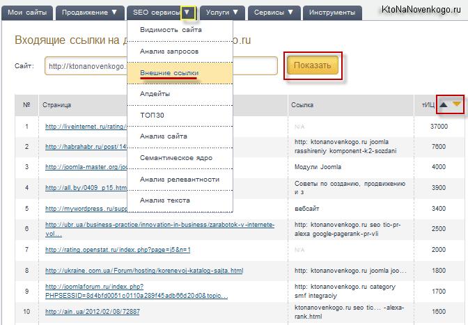 Внешние ссылки сайта в Мегаиндексе
