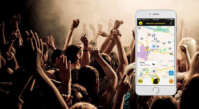 Мобильное приложение с указанием места вечеринки