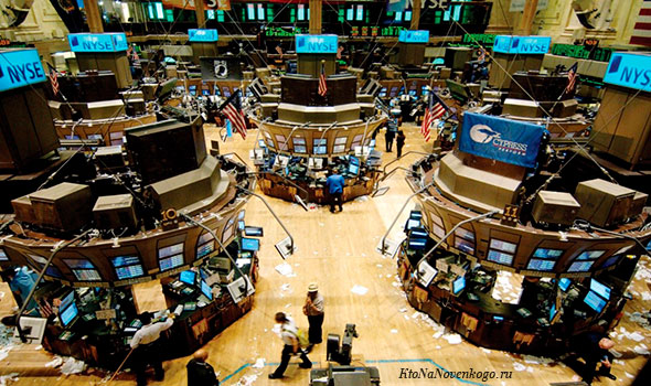Вид изнутри самой крупной фондовой биржи миры - американской NYSE