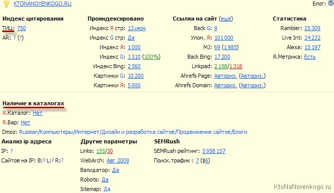 Наличие сайта в каталогах