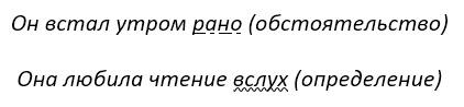 Наречие в тексте