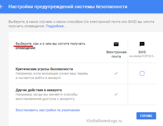 Настройки оповещений в Google