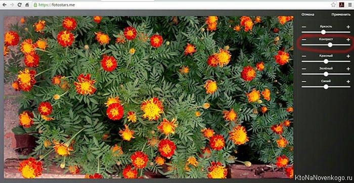 онлайн настройка контраста цветов у фото