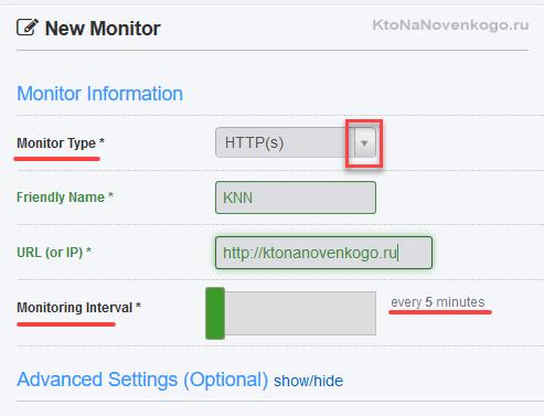 Настройки мониторинга в UptimeRobot