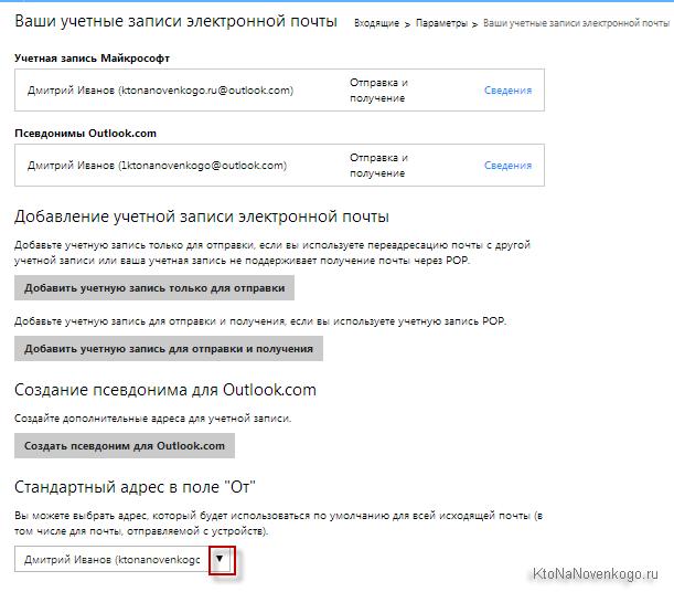 Ваши учетные записи электронной почты Hotmail