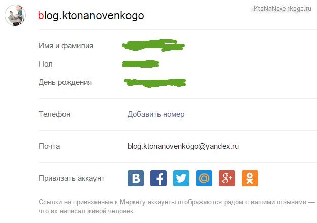 Настройки вашего профиля в Яндекс Маркет