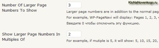 Другие настройки WP-PageNavi