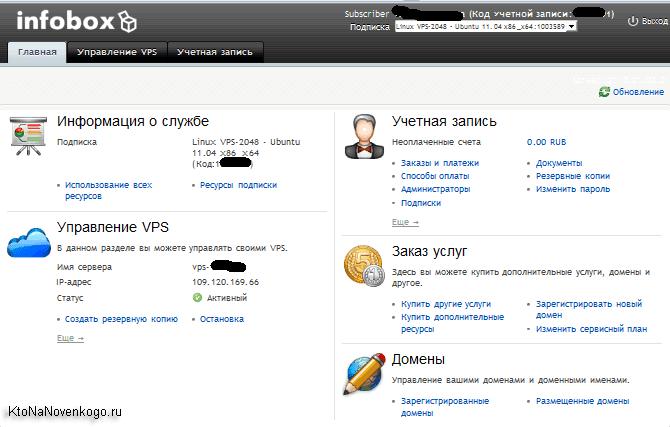 Панель управления сервером в Инфобоксе