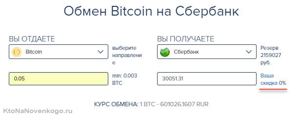 Обмен биткоинов на Сбербанк в 60cek