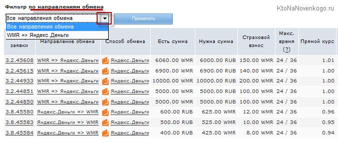 Обмен в Exchanger WebMoney на Яндекс деньги
