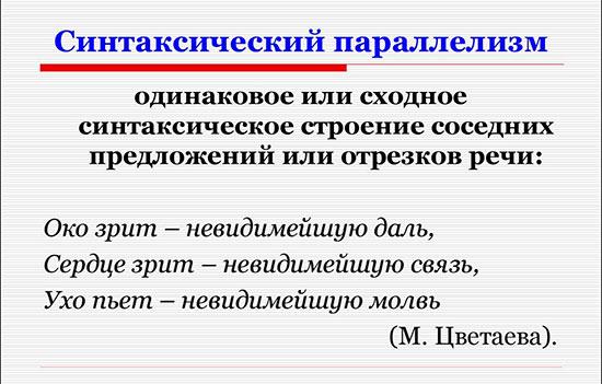 Определение и пример синтаксического параллелизма