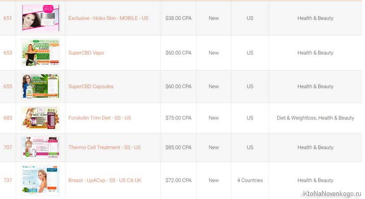 Список офферов в BizProfits