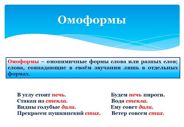 Определение термина и примеры слов омоформ