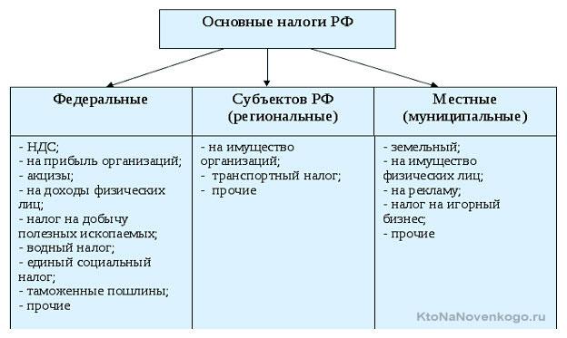 Основные налоги РФ
