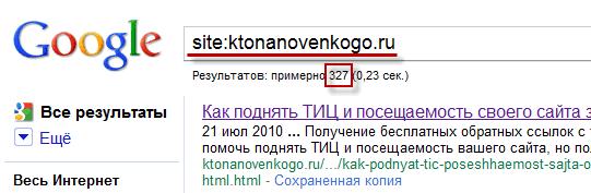 Поиск в Гугле только по одному сайту с помощью оператора site