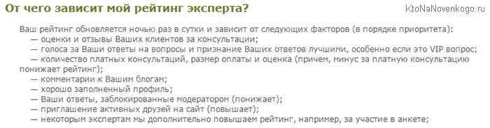 От чего зависит ваш рейтинг на сайте LiveExpert.ru