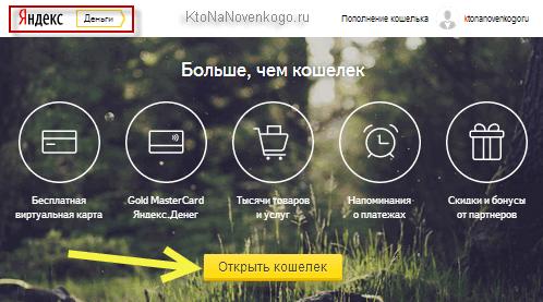 YooMoney (Яндекс деньги) - страница приветствия