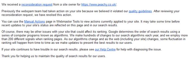Сообщение об отмене санкций в Google