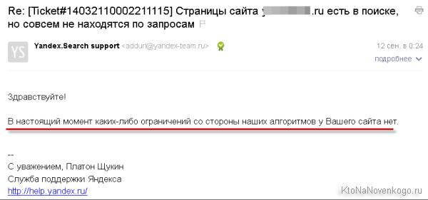 Ответ Платона о снятии с сайта фильтра в Яндексе