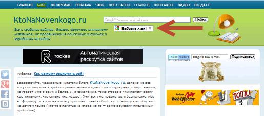 Как выглядит кнопка переводчика на сайте