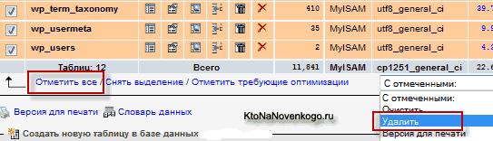 Как удалить все таблица базы данных