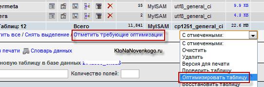 Как в PhpMyAdmin оптимизировать таблицы базы данных