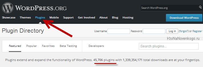 Плагины на wordpress.org