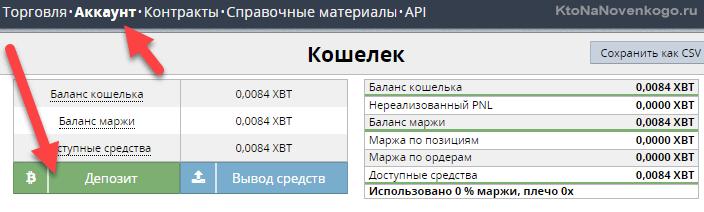 пополнить депозит в BitMex