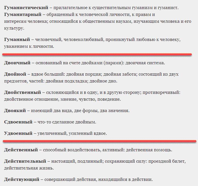 Примеры паронимов