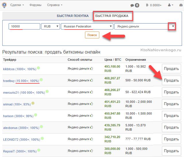 Продажа криптовалюты в ЛокалБиткоинс