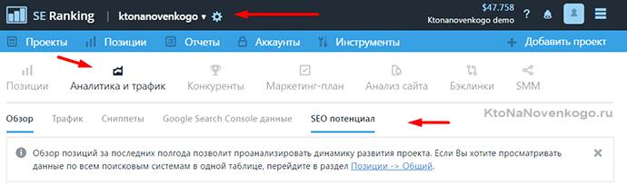 аналитика и трафик сайта в сервисе se ranking
