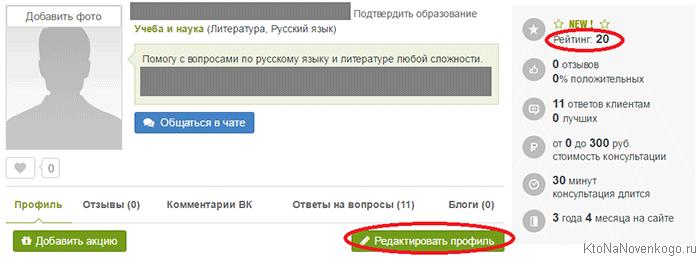 Ваш профиль на LiveExpert