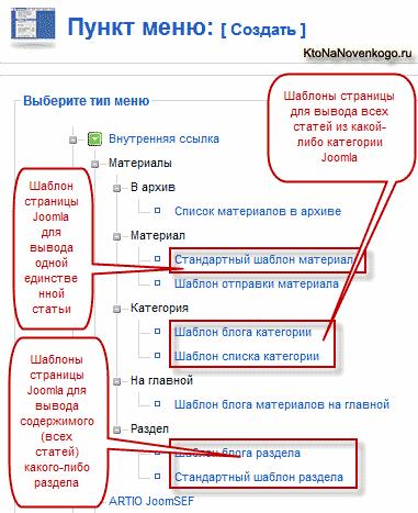 Как создать в Joomla блог на основе категории или раздела с помощью пункта меню, а так же другие варианты вывода контента