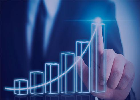 График роста прибыли на фоне человека