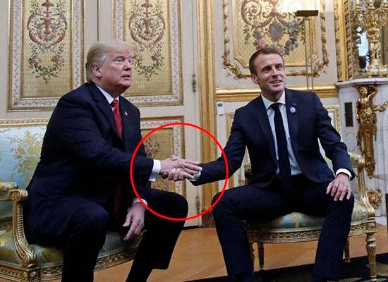 Рукопожатие Трампа и Макрона как пример тайного сакрального послания