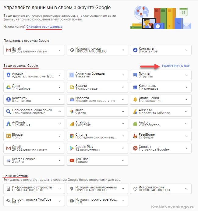 Личный кабинет в Google