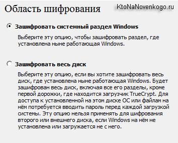 Область шифрования компьютера