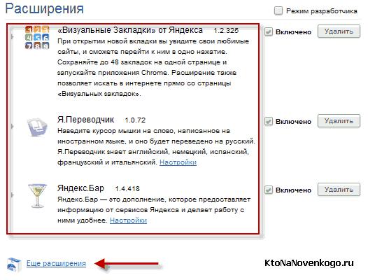 Расширения от Яндекс для хромиума
