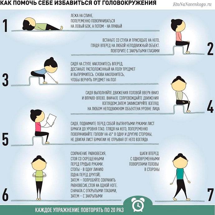 Как помочь себе избавиться от головокружений - специальные упражнения