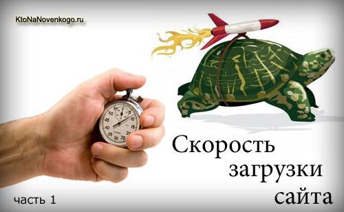 Измерение скорости загрузки сайта (иронично в виде черепахи с привязанной ракетой)
