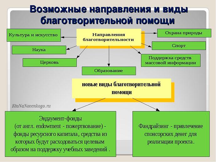 Возможные направления и виды благотворительных фондов