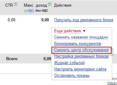 сменить цоп Яндекса
