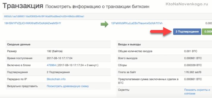 Проверка прохождения транзакций на блокчейн.инфо