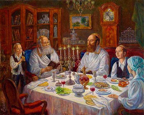 Еврейская семья за праздничным столов в Шаббат