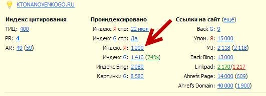 Число страниц в индексе Яндекса